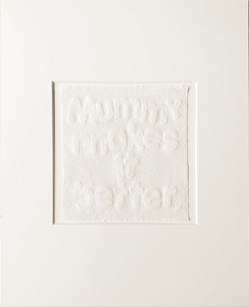white image of letters imprinted on kitchen roll, about mother artists in lockdown