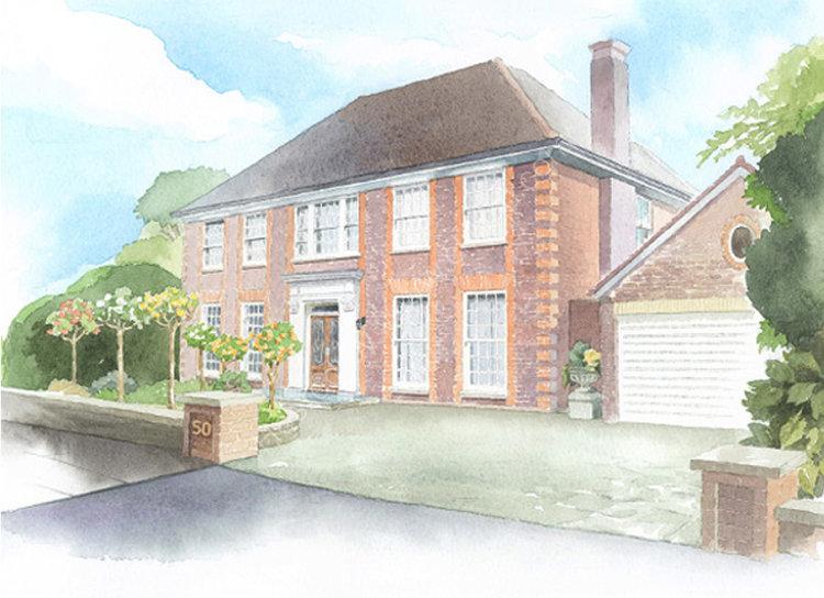 watercolour_house_portrait_London house_sallybarton