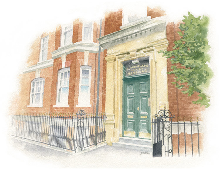 HousePortrait_SallyBarton_WatercolourArtist_LondonMansionBlock