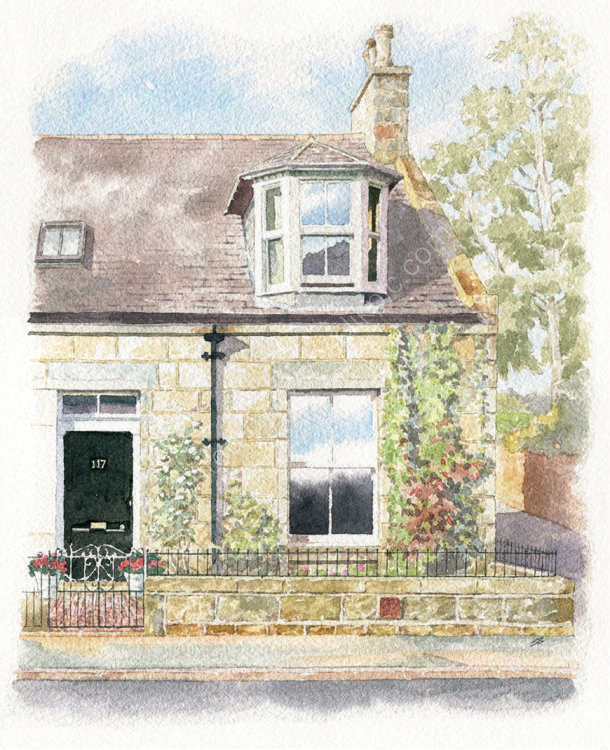 houseportrait_watercolour_sallybarton_Scottishstonecottage