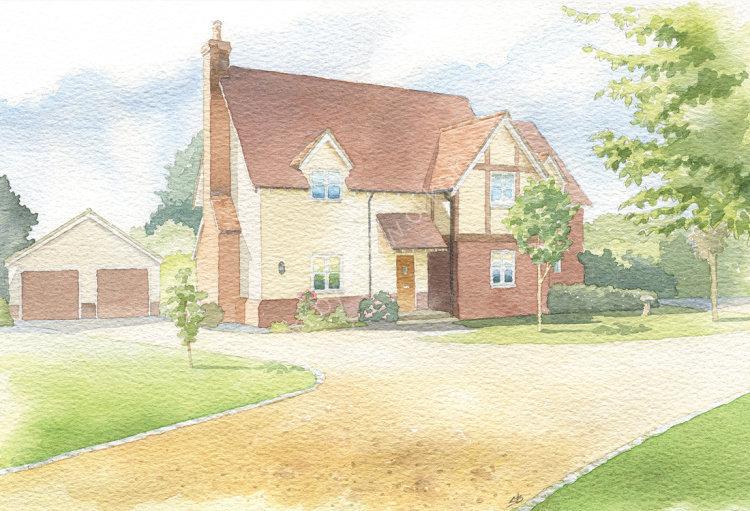 House portrait: modern detached home. A4