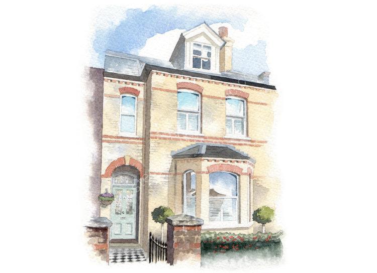 commissionahouseportrait_watercolour portrait_sallybarton_terracedhouse