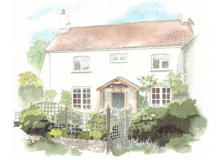 commissionahouseportrait_watercolour portrait_cottage_sallybarton