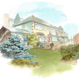 House portrait: Elham House with garden view. A4