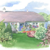 House portrait: single storey house and garden. A5
