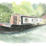 Narrowboat portrait with owners. A4