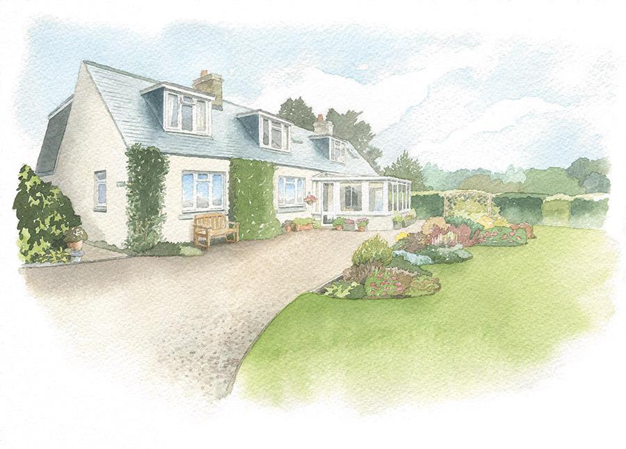 House portrait: bungalow with garden. A4
