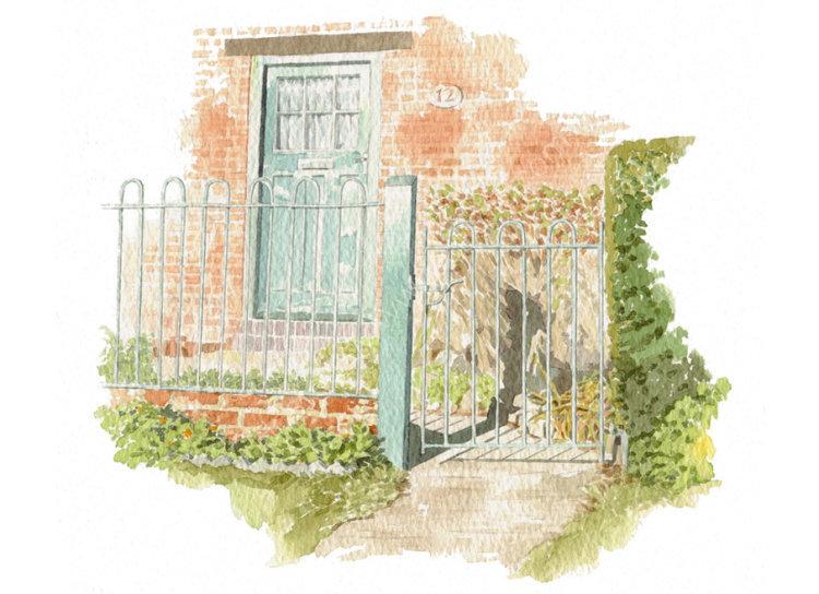 commissionahouseportrait_cottage_sallybarton_CottageGate_OxfordshireVillage