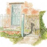 House portrait: Cottage door & gate. A4
