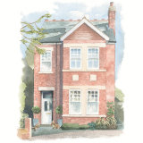 House portrait: House in Teddington, featuring owner's dogs. A3