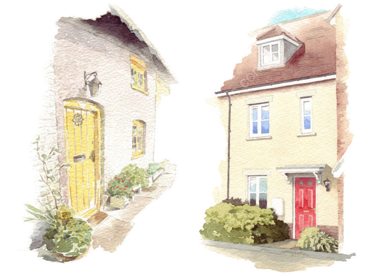 House portraits: Two terraced houses, each A5