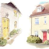 House portraits: Two terraced houses, each A5