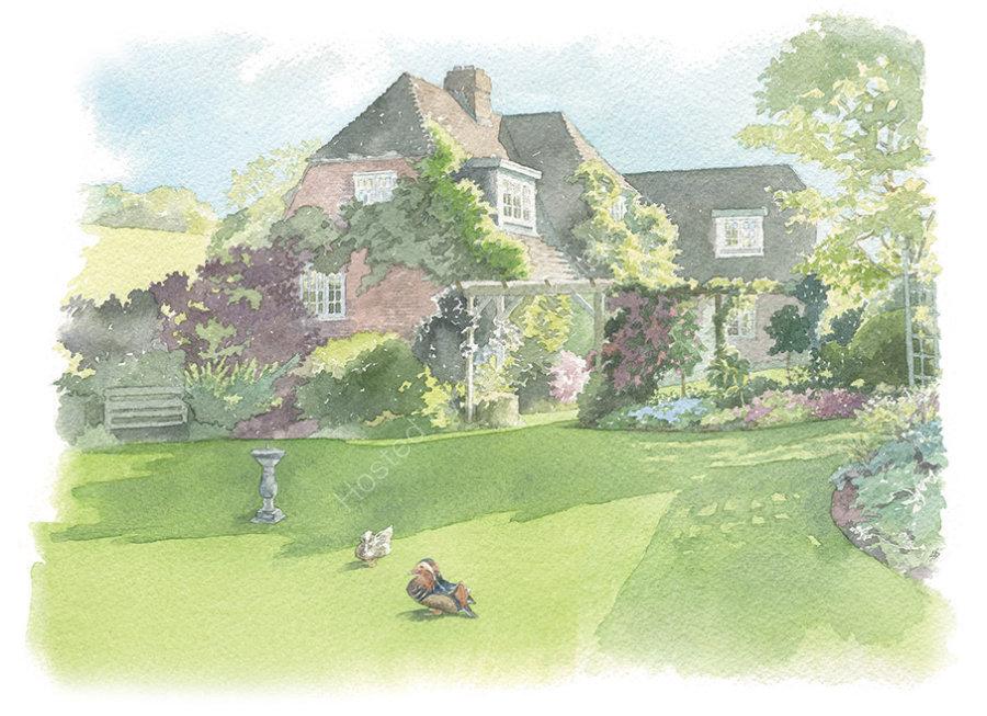 House portrait. Berkshire cottage, with ducks. A4