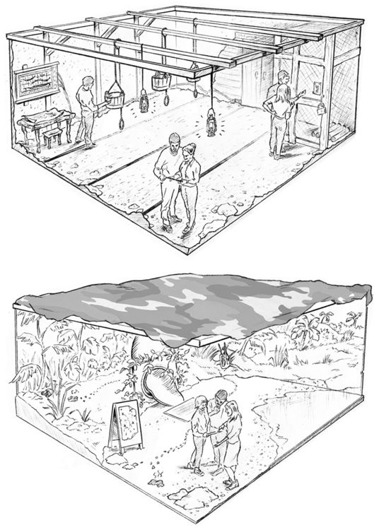 Pencil roughs for Bear Grylls escape room concepts
