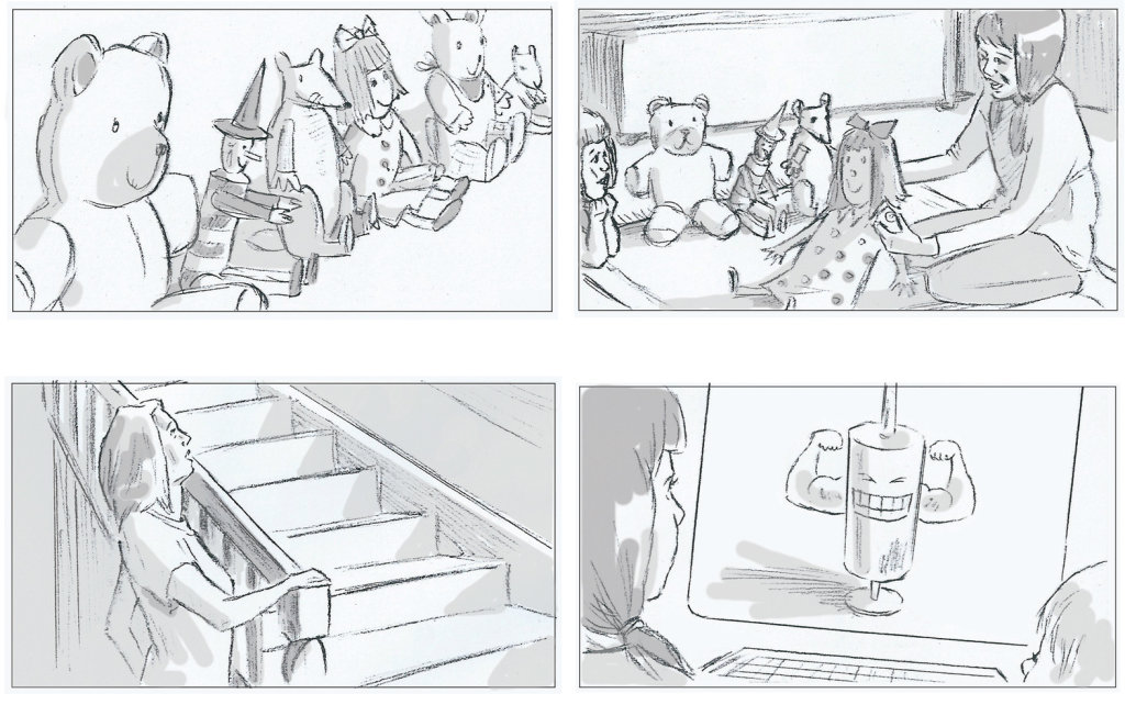 From series of storyboards for Merck & Co