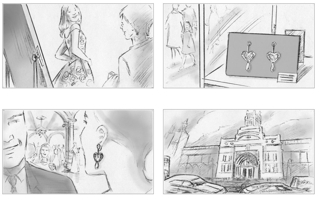 Series of storyboards for pitch to V&A Museum