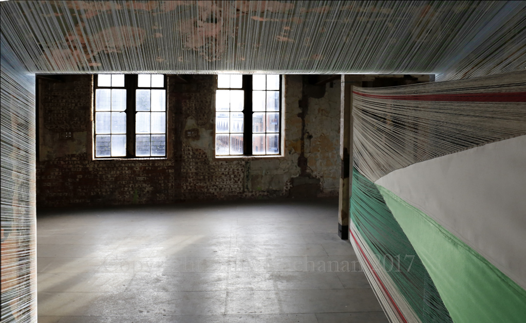 Looking back at the Bargehouse space from inside the Heyday Installation
