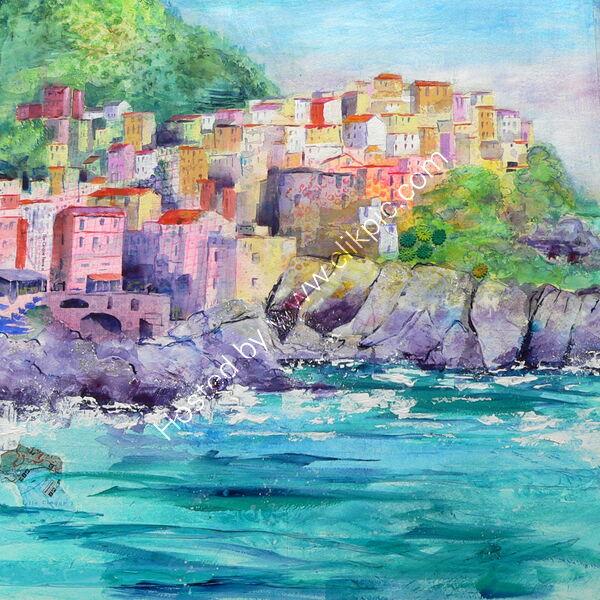 Cinque Terre Manarola - Oil on canvas - 50 x 50