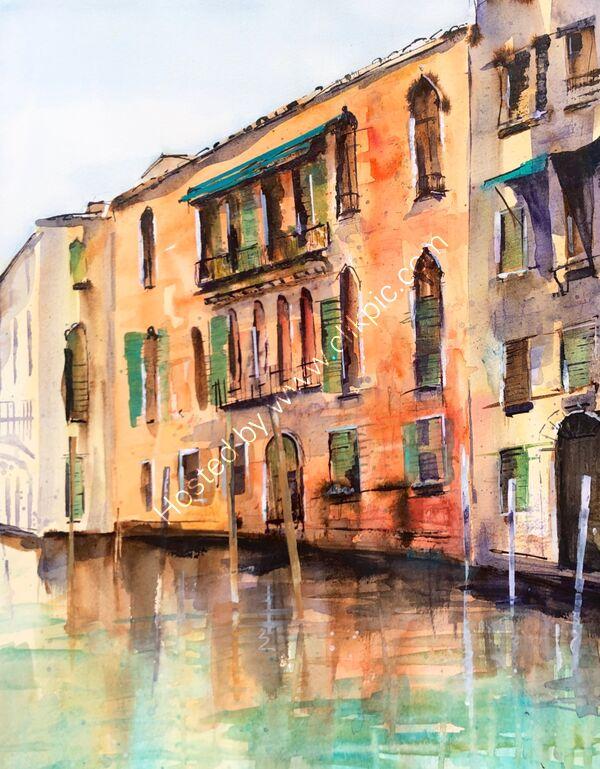 Peaceful Venice - Watercolour - 60 x 70