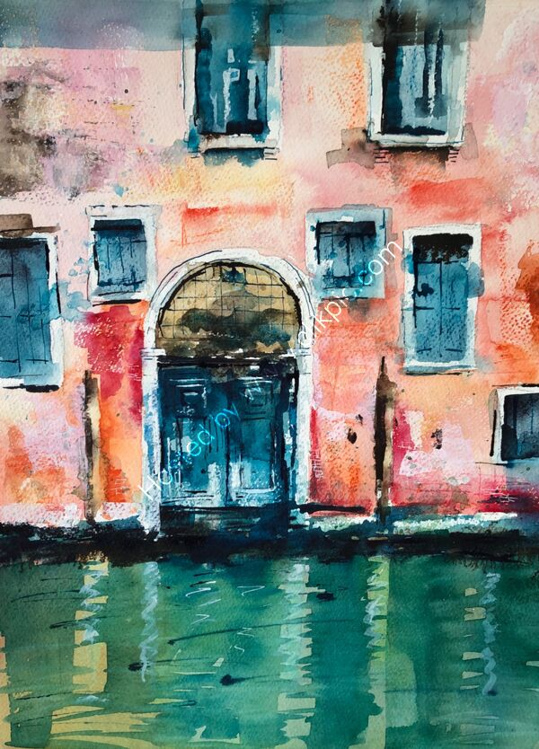 A Quiet Canal - watercolour - 40 x 50