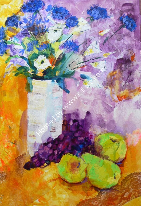 Flowers and Pears - Mixed Media - 55 x 70