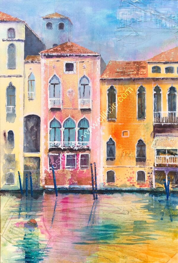 Vanitian  Palazzos - Watercolour - 55 x 70