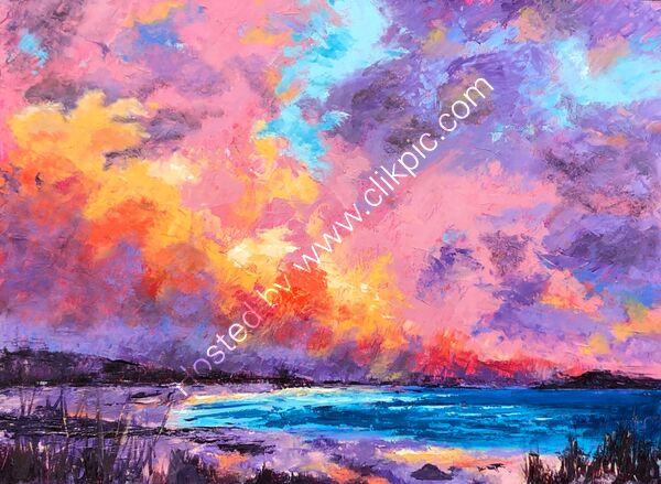 Sunset - Oil on board - 40 x 30