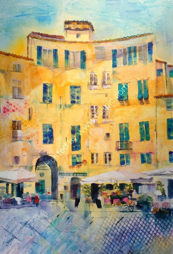 Luca ( Piazza dell Anfiteatro) - Mixed Media - 54 x 70