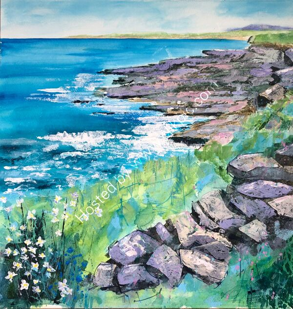 Walk Across the Cliff Tops  - Mixed Media - 70 x 70