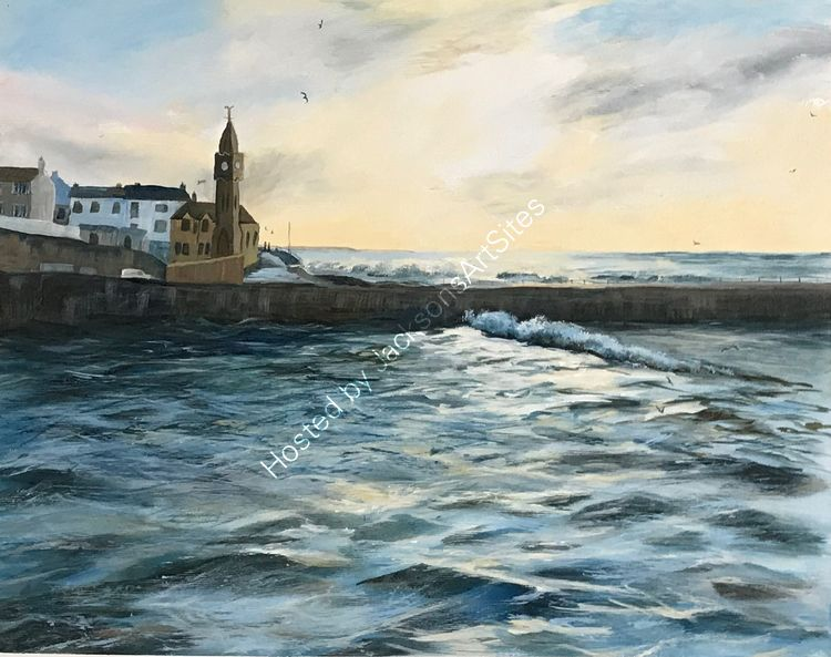 Winter sun over the harbour, Porthleven