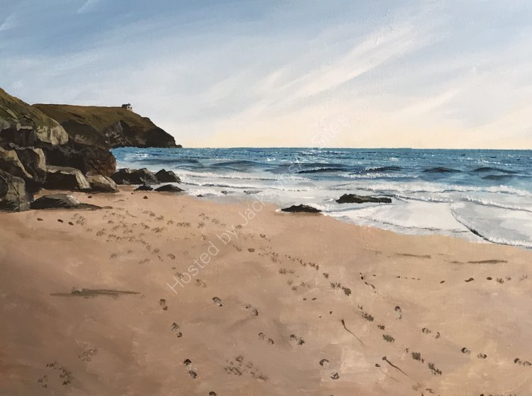 Footsteps across Hendra Beach, Cornwall