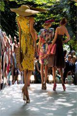Beautiful colours on the catwalk at Buckingham Palace