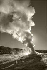 Early morning light Old Faithful Yellowstone - Sepia Edit