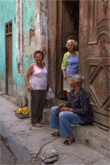 Women chatting in the street - Havana