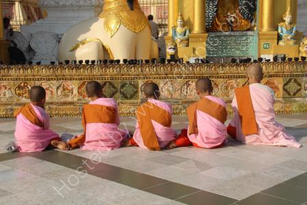 Buddhist Nuns at Shwedagon Pagoda