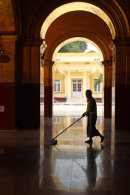 Cleaning the monastery floor