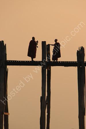Monks on U Bein Bridge at Sunset