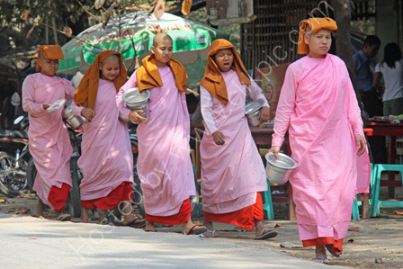 Nuns Collecting Alms in Mandalay