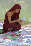 Monk Reading Books by River Bank