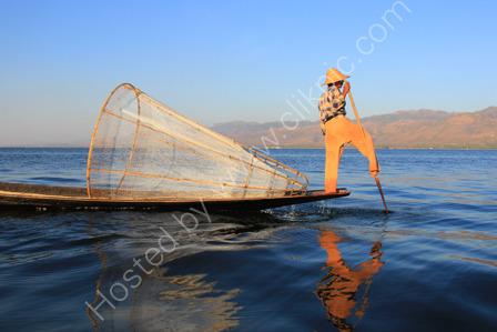 Leg Rowing Fisherman on Inle Lake