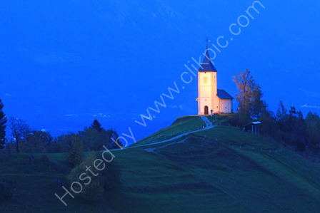Church on a Hillside at Dusk