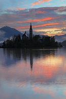 Sunrise Reflected in Lake Bled