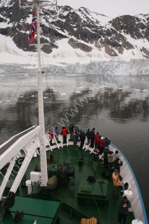 Ship and glacier in Spitsbergen