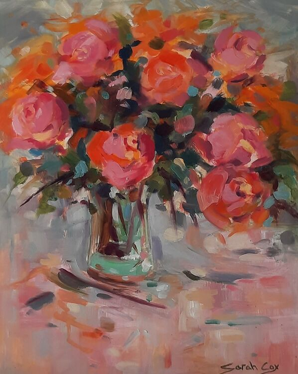 "Summertime roses oil on board 12"" x 9.5"" SOLD"