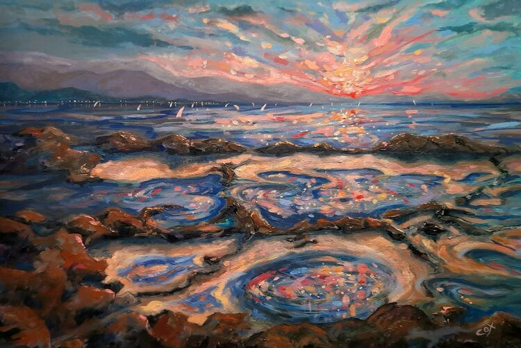 """Dazzling Sea.  Oil on canvas 30"""" x 24"""" SOLD"""