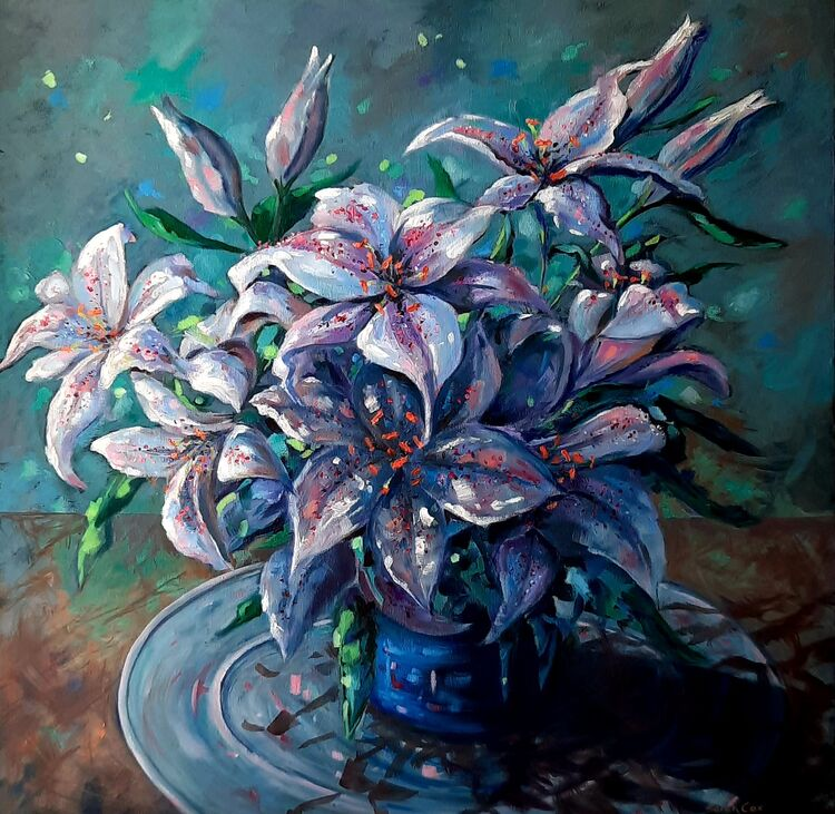 """Bowl of Lilies Oil on Canvas 24"""" x 24"""" Oil on canvas £350"""