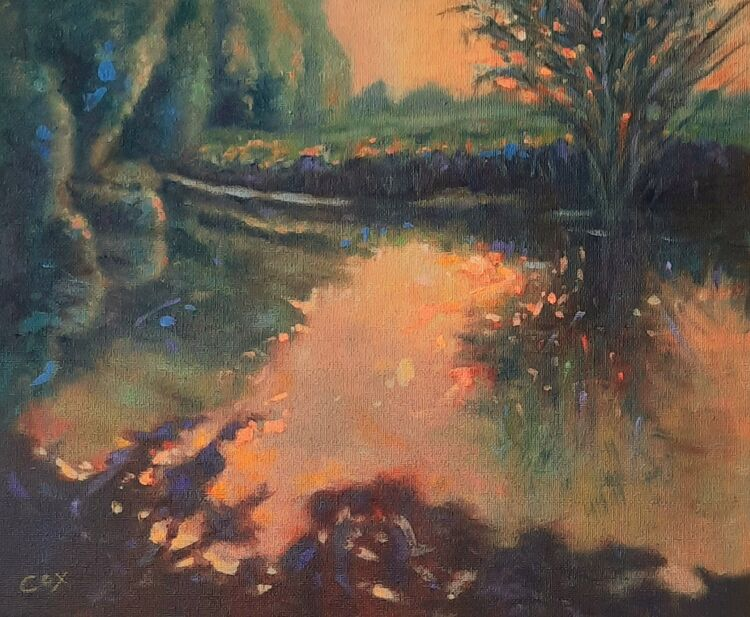 "Golden light oil on board 12"" x 10"" £120"