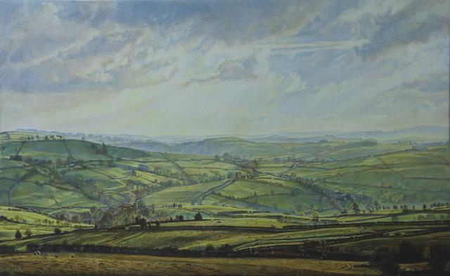 Autumn Evening, Shropshire Hills. 21 x 33 cm. Egg Tempera on Gesso Panel.