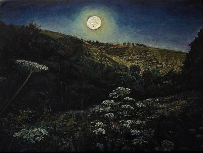 Rising Moon. Egg tempera on gesso panel. 15 x 20cm.