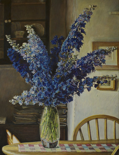 Delphiniums from my garden. Egg tempera on gesso panel. 26 x 20cm.